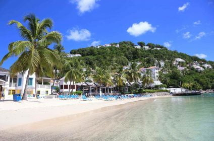 Beach hotel and hills at Windjammer Landing St Lucia
